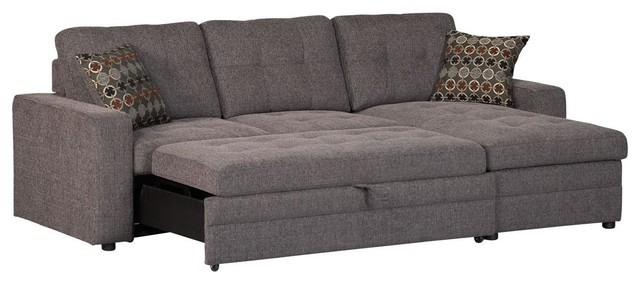 Sofa pull out bed casual dark gery gus sectional sofa with tufts storage pull out bed pillows DEREFTO