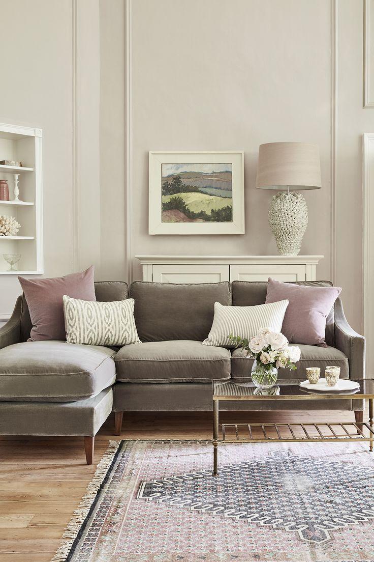 sofa room iggy left hand chaise in squirrel cotton matt velvet HPBUZOS
