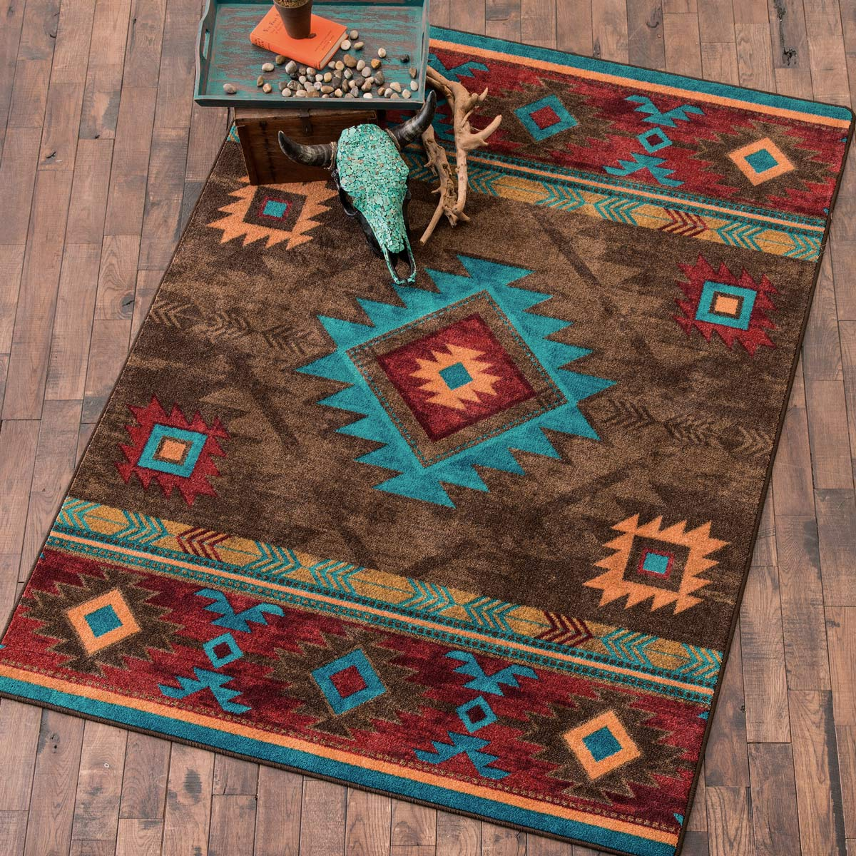 southwest rugs: 3 x 4 whiskey river turquoise rug|lone star western decor KCJBSAB