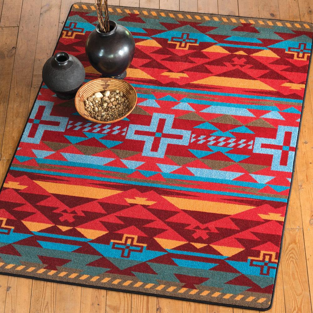 southwest rugs: 8 ft. round rustic cross sunset rug|lone star western decor SJJUHRC