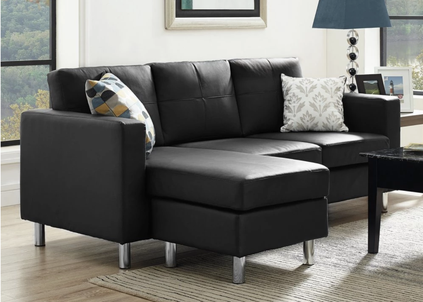 space saving black sectional sofa for small spaces AQVRSHL