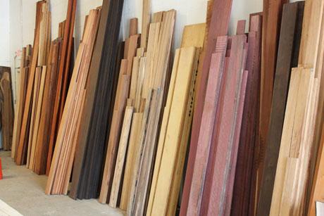 stacks of exotic hardwood lumber NJVJSQB