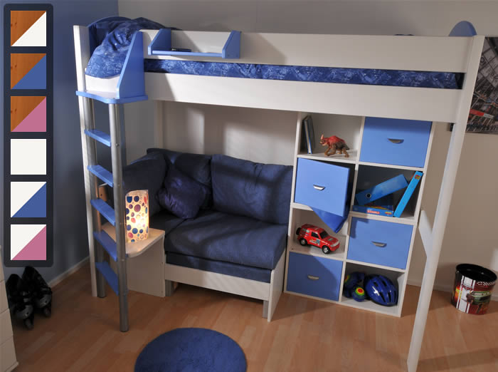 stompa casa 7 high sleeper bed with sofa bed and cupboards DXNBNOK