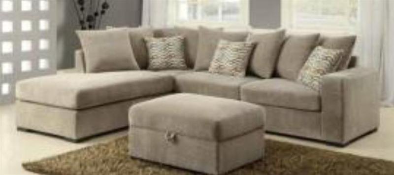 taupe microfiber sectional sofa by coaster - 50044 QAGOYCO