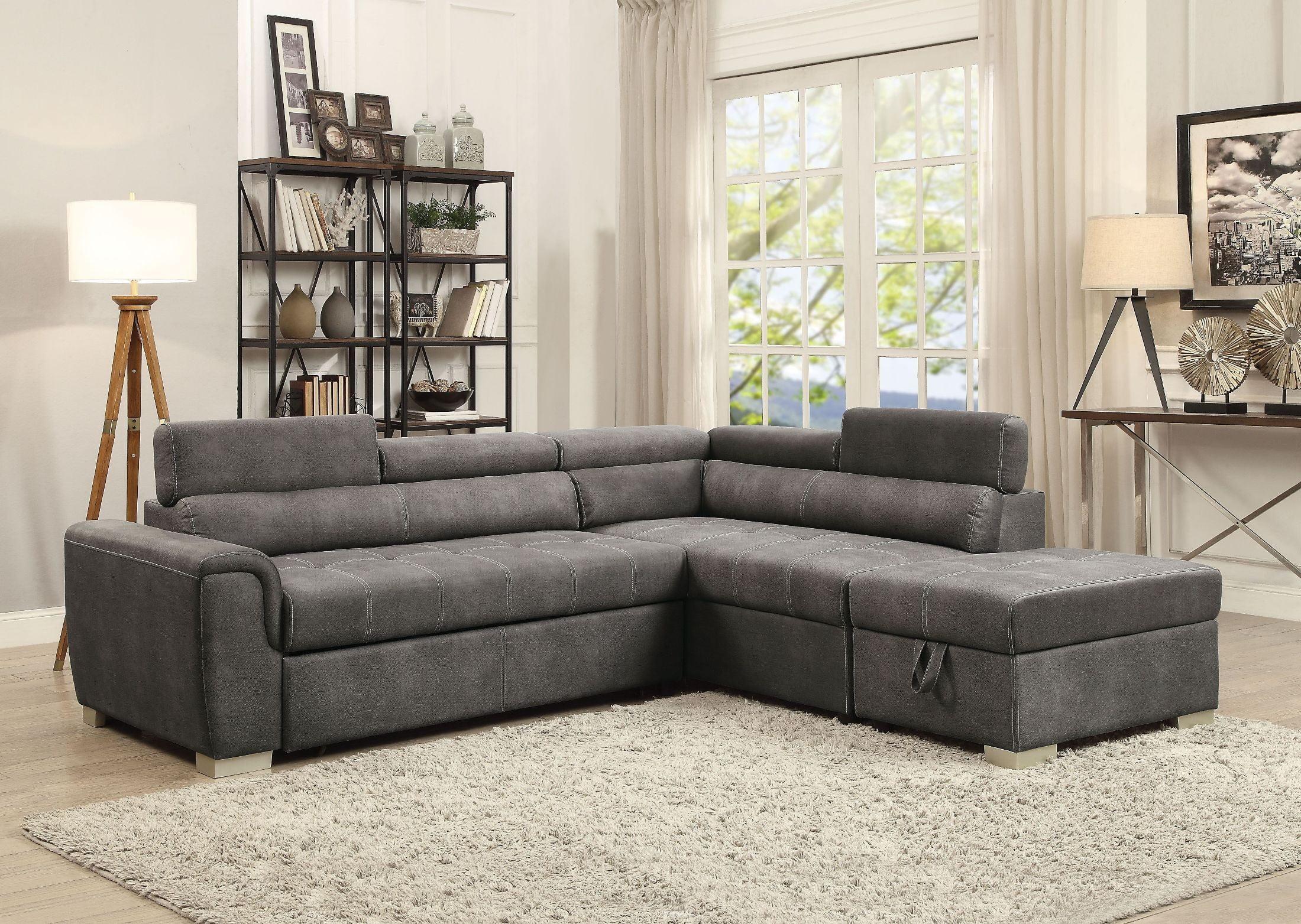 thelma gray polished sectional sleeper sofa with ottoman KXZTTDU