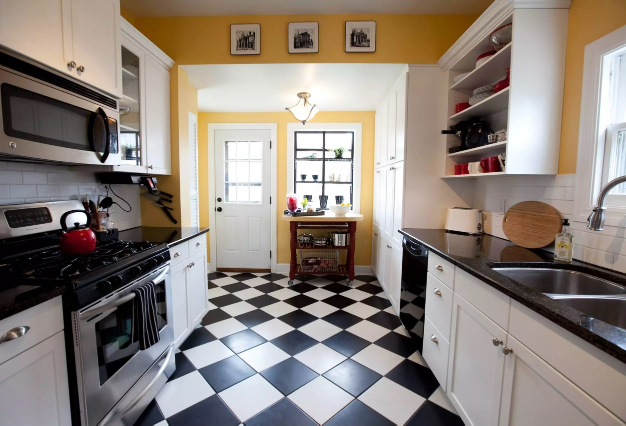 top modern kitchen flooring materials. rhombic ceramic tile in black and  white LMJIGSC