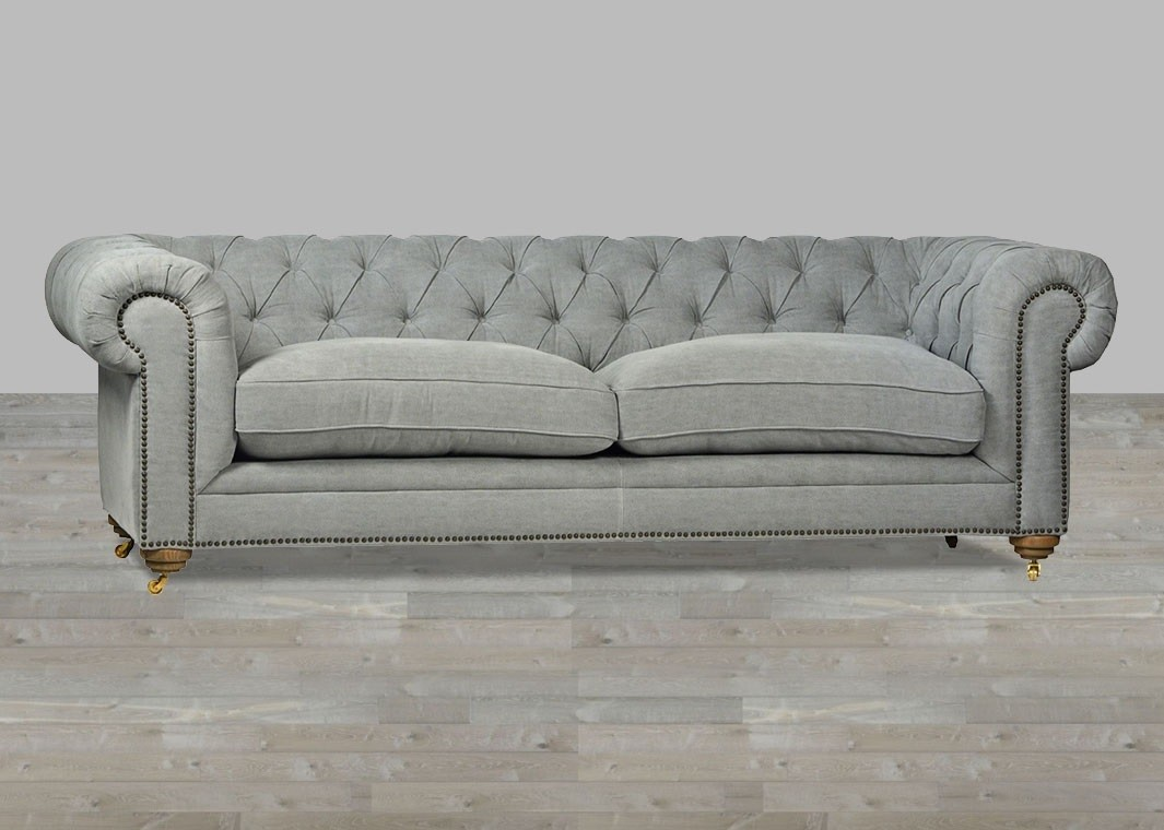 Upholstered sofa upholstered sofa grey chesterfield style button tufted ADPDFOZ