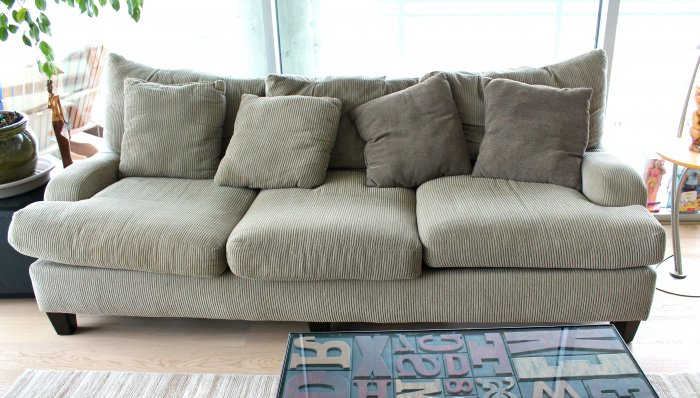 used sofa gray corduroy couch (photo by darcy barrett) ESNXLZY
