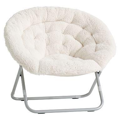 white comfy chair sherpa hang-a-round chair, ivory WBCNBIT