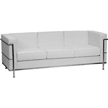 White leather sofa flash furniture hercules regal series contemporary melrose white leather  sofa with encasing TOWJMRP