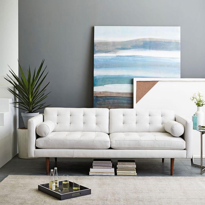White leather sofa monroe mid-century leather sofa (80 OJPLFRG