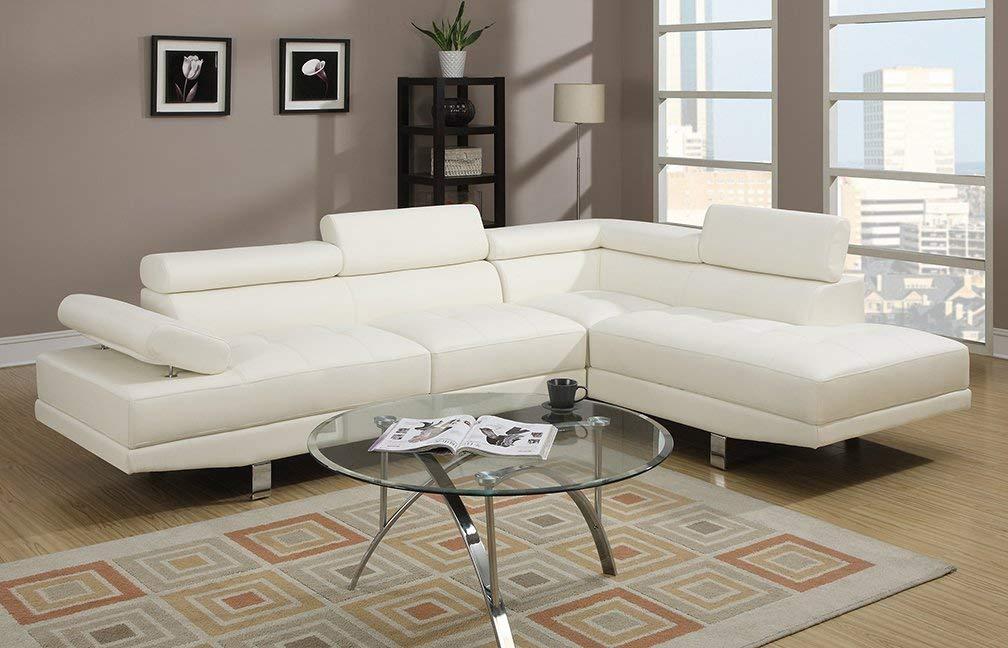 white sectional sofa amazon.com: poundex 2 pieces faux leather sectional right chaise sofa, white:  kitchen JCWPQKP