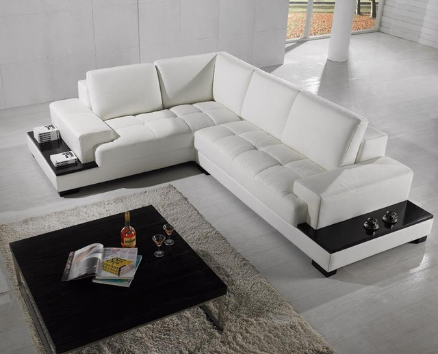 white sectional sofa modern sectional sofa in white bonded leather modern-living-room ZXIZJQB
