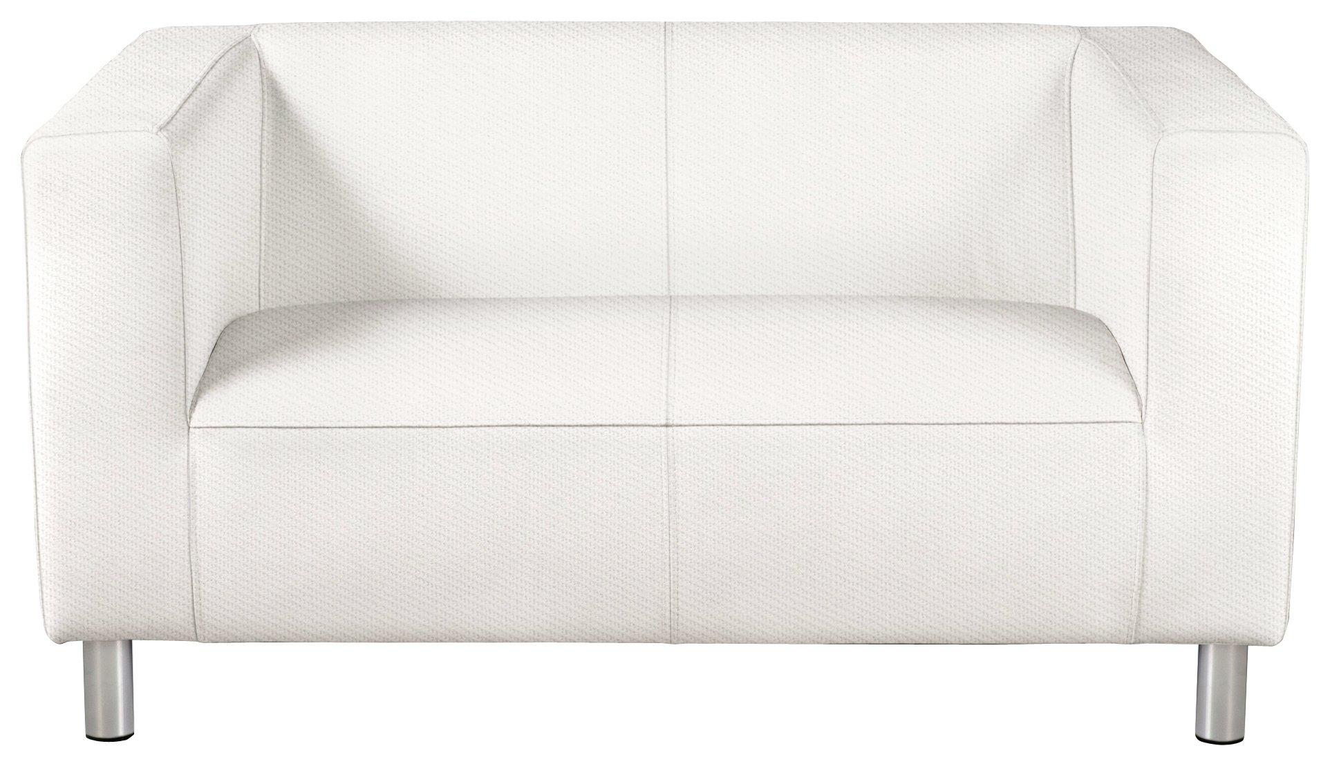 white sofa home moda compact 2 seater fabric sofa - white VQBXNNI