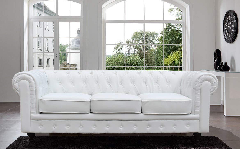 white sofas amazon.com: tufted scroll arm bonded leather sofa: kitchen u0026 dining LFGLBGV