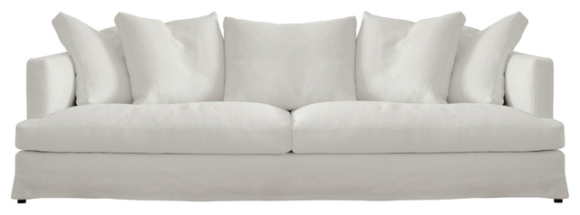 white sofas bradshaw contemporary linen slipcovered white sofa LRPEQGJ