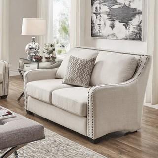 white sofas faizah white linen nailhead sloped arm loveseat by inspire q artisan GDWECWI