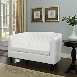 white tufted loveseat image is loading white-tufted-loveseat -modern-chesterfield-settee-leather-look- PLJTBFV