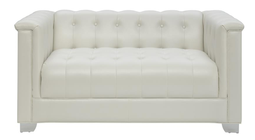white tufted loveseat with chrome handles 505392 MILXVGH
