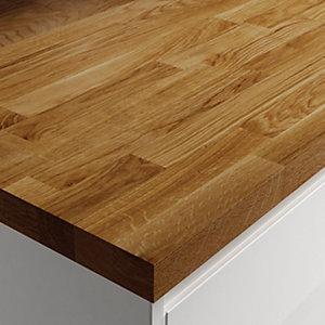 wickes solid wood worktop - dark oak 3000 x 600 x 38mm LOIDNZF