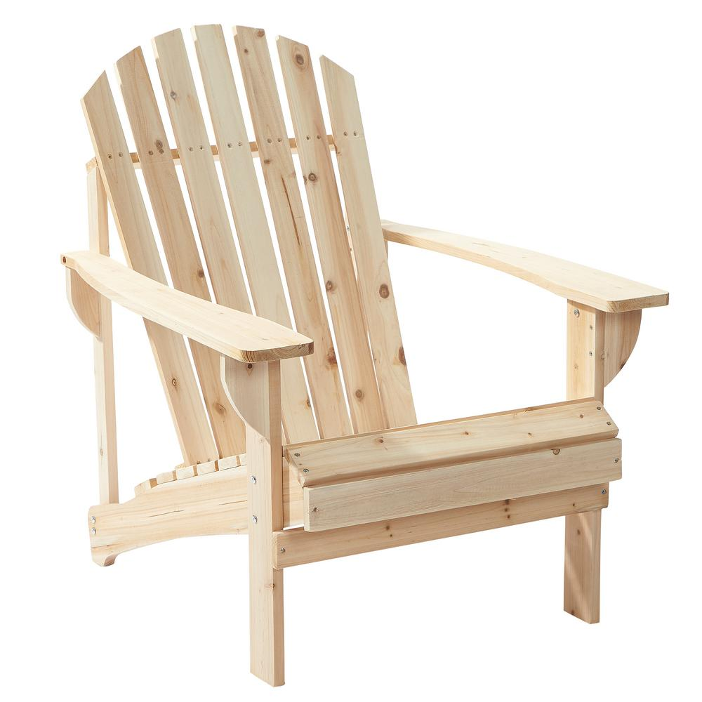 wooden chairs hampton bay unfinished stationary wood outdoor adirondack chair (2-pack) KDBFPUR