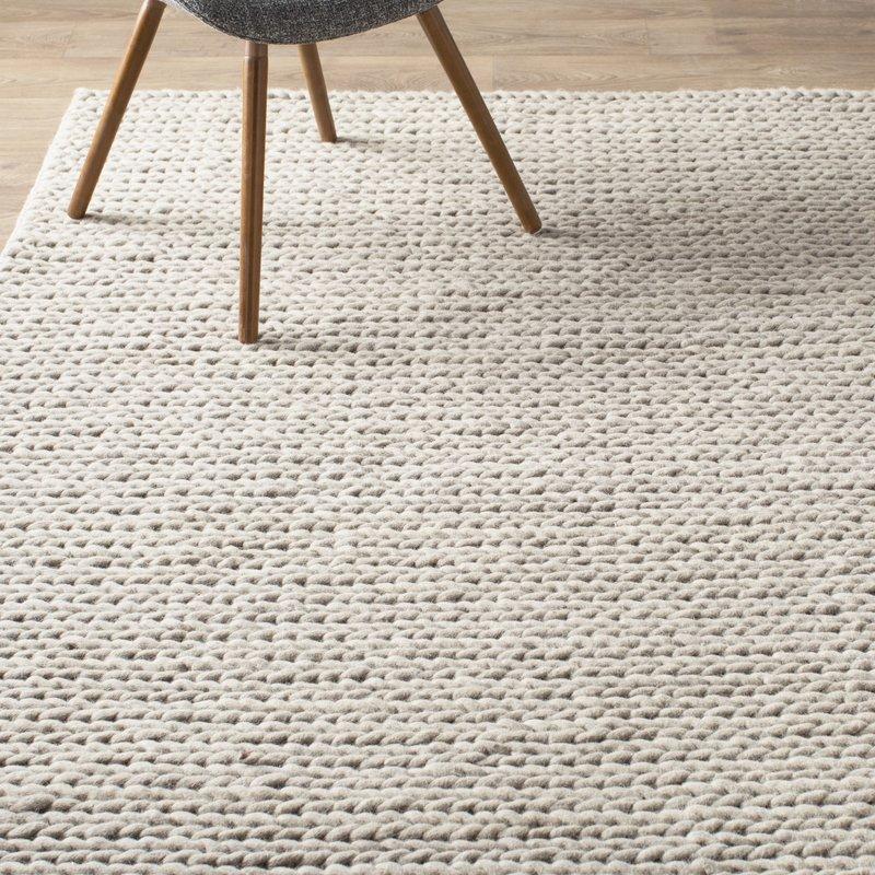 wool rugs mercury row dunfee chunky hand woven wool off white area rug with rugs JYUVDNH