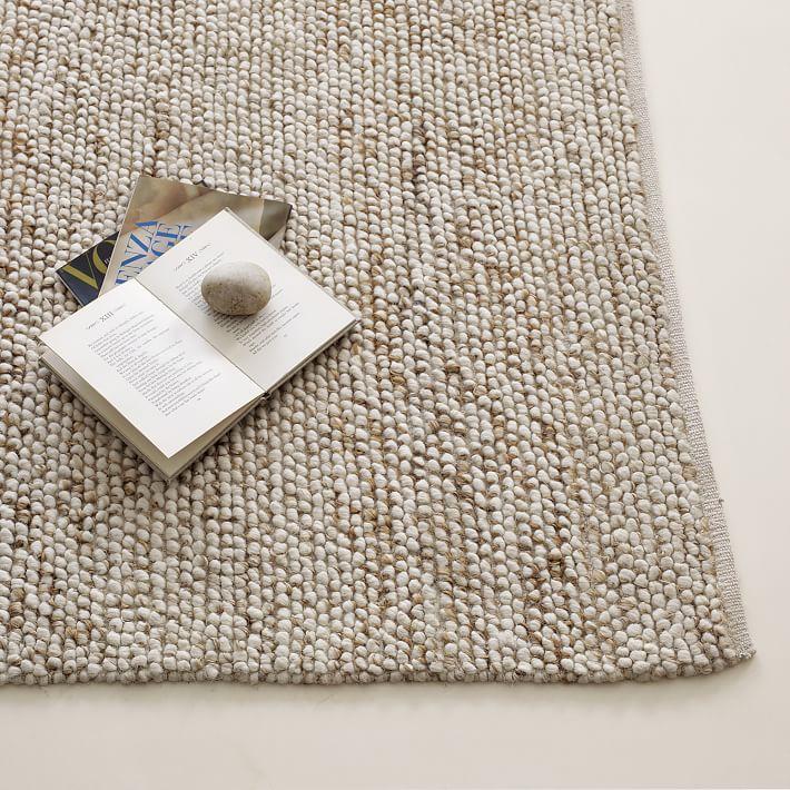 wool rugs mini pebble wool jute rug - natural/ivory | west elm KHPUDIL