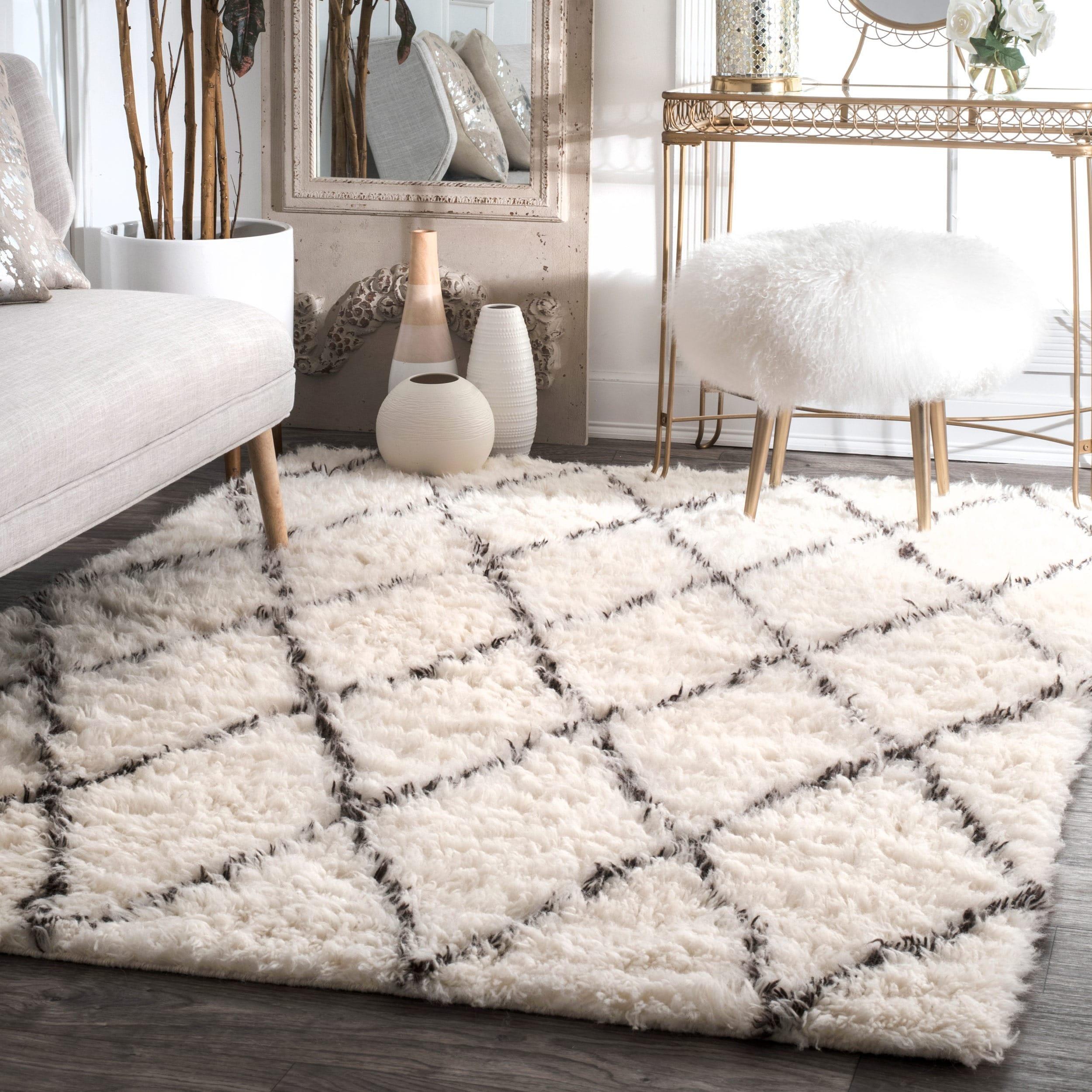 wool shag rug nuloom handmade moroccan trellis wool shag area rug (4u0027 x 6u0027) - free ACVCOZT