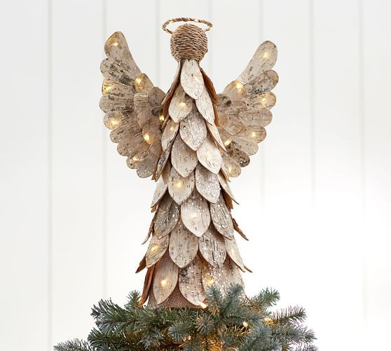 Light Up Birch Angel Tree Topper | Christmas tree toppers, Cool .