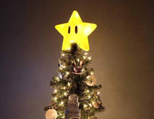 3-D Printed Super Mario Power Star Christmas Tree Topper - Geekolog