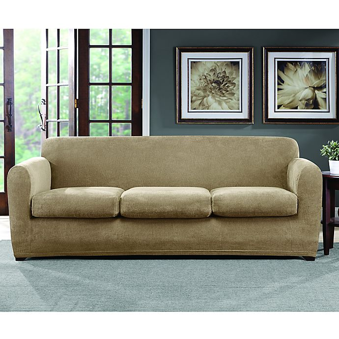 Sure Fit® Ultimate Stretch Chenille 3-Cushion Sofa Slipcover | Bed .