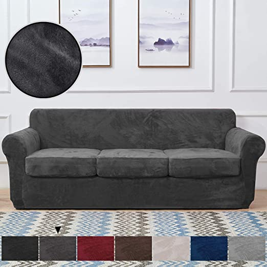 Amazon.com: RHF Velvet Couch Cover 4 Piece Sofa Cover Sofa .