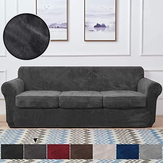 Amazon.com: RHF Velvet Couch Cover 4 Piece Sofa Cover Sofa .