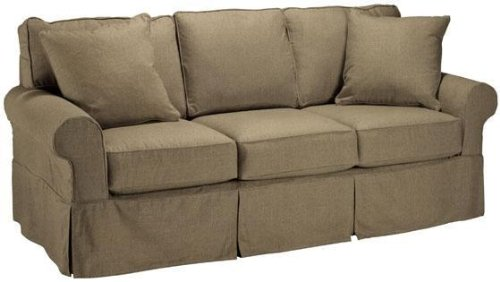 Tan Sofa with Pillows: Nantucket Slipcover 3 cushion Sofa .