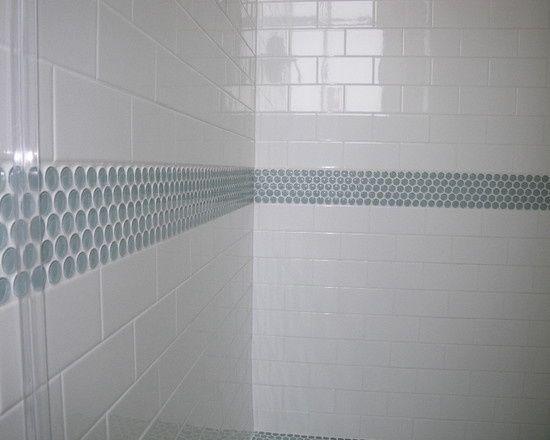 black bathroom tile accent ideas - Google Search | White subway .