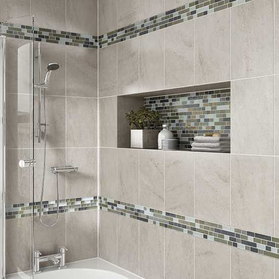 Details: Photo features Castle Rock 10 x 14 wall tile with Glass .