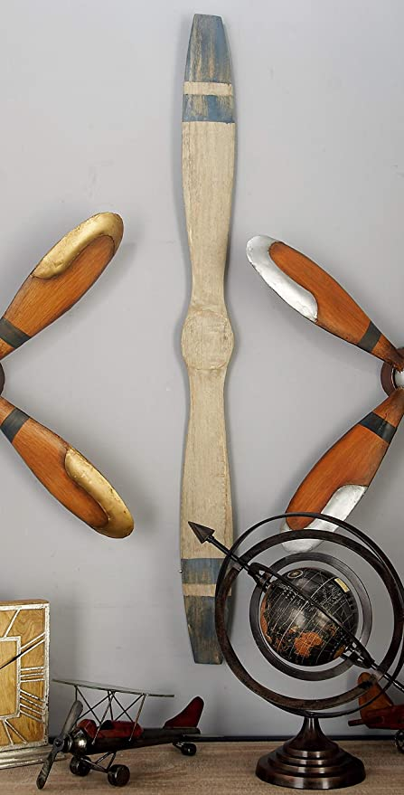 "Amazon.com: Deco 79 Rustic Wooden Airplane Propeller Decor, 4"" H x ."