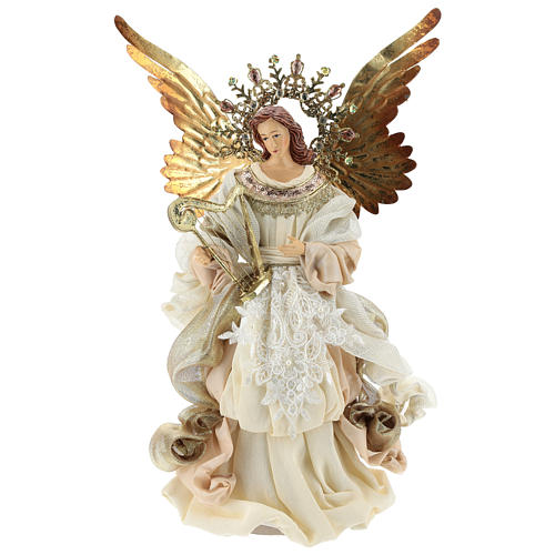 Angel tree topper with harp 36 cm resin and cloth | online sales .