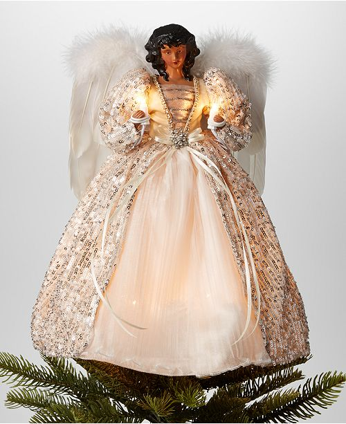 "Holiday Lane 14""H African American Angel Christmas Tree Topper ."