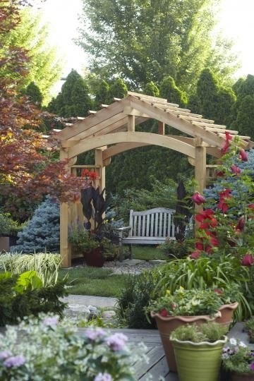 Arbor Ideas - Wooden arbor over a bench. | Backyard pergola .