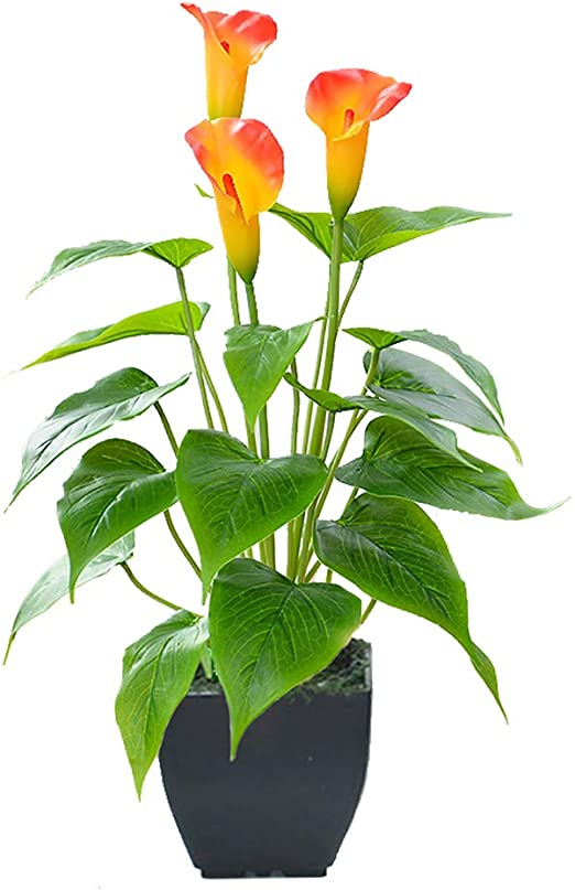 Amazon.com: Artificial Flower Plants Calla Lily Faux Small Potted .