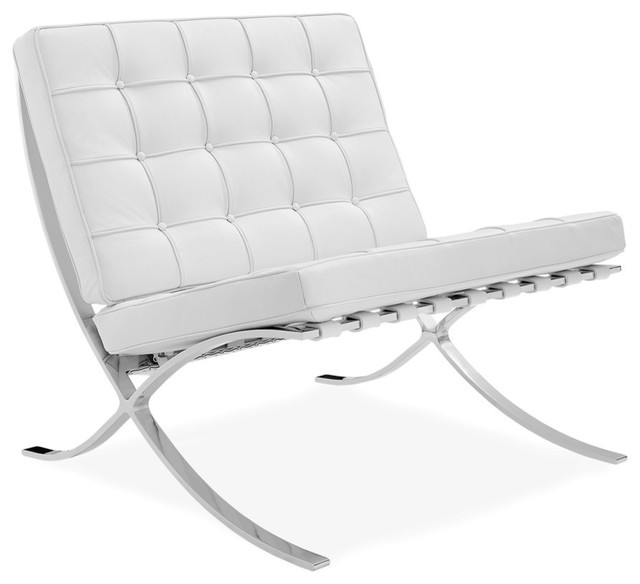 Barcelona Chair, Premium Top-Grain Italian Leather, White .