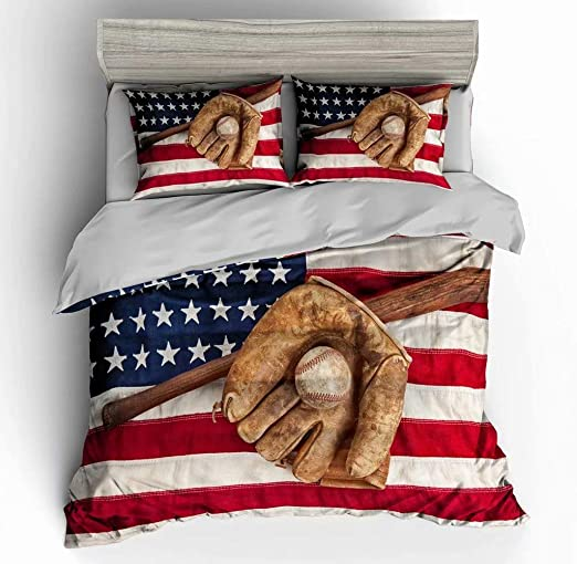Amazon.com: Abojoy Vintage Baseball Room Decor Duvet Cover Set .