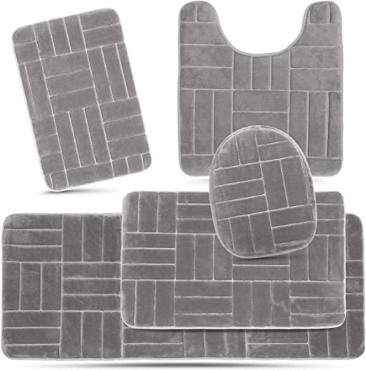 Amazon.com: Effiliv Bathroom Rugs Set 5 Piece Memory Foam Mats .