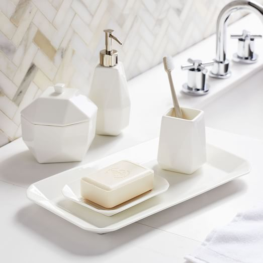 Faceted Porcelain Bathroom Accessories - Whi