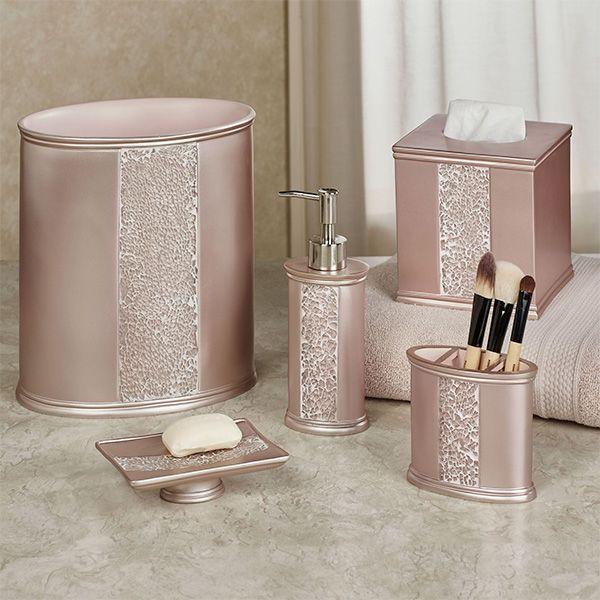 Sinatra Pale Blush Mosaic Bath Accessories | Gold bathroom decor .