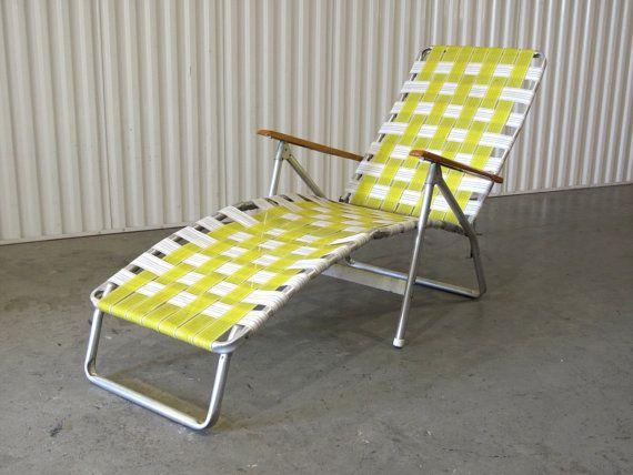 1960's Webbed Lawn Chair Folding Beach Chair Lounge   Etsy .