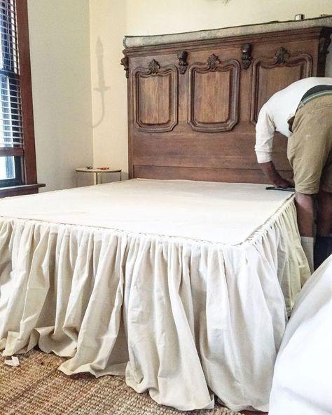 DIY No Sew Drop Cloth Bed Skirt | Diy bed skirt, Bedroom makeover .