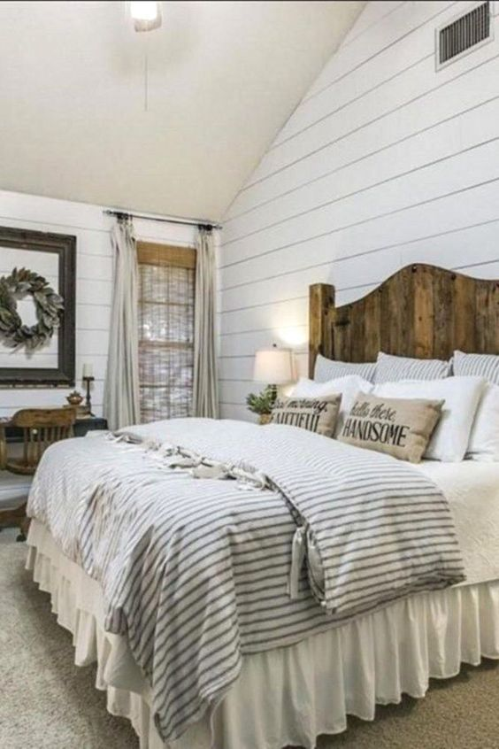 White Linen Bed Skirt, Gathered Ruffle | Rustic farmhouse bedroom .