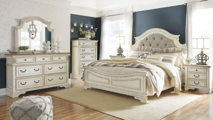 Realyn Chipped Two Tone Upholstered Panel Bedroom Set - 1StopBedroom